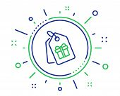 Coupons With Gifts Line Icon. Present Box Or Sale Sign. Birthday Shopping Symbol. Package In Gift Wr poster