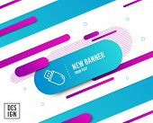 Usb Stick Line Icon. Computer Memory Component Sign. Data Storage Symbol. Diagonal Abstract Banner.  poster