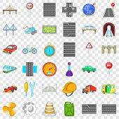 Speed Road Icons Set. Cartoon Style Of 36 Speed Road Vector Icons For Web For Any Design poster