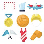 Volleyball Water Sport Player Accessories Beachball Icons Vector Illustration. Healthy Volley Ball T poster