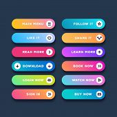 Vector Button Set Modern Gradient Style Isolated On Black Background For Web Site, Ui, Mobile App. C poster