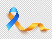 World Down Syndrome Day. March 21. Realistic Blue Yellow Ribbon Symbol Over Transparent Background.  poster