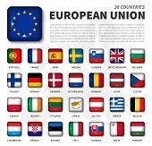 European Union ( Eu ) And Membership Flag . Association Of 28 Countries . Round Angle Shiny Square B poster