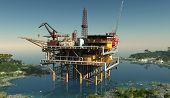 stock photo of rework  - Oil production in the lagoon - JPG