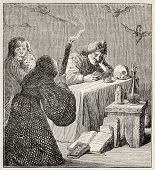 Witch old illustration. After painting of  Teniers (Diabolical reading) kept in Bordeaux museum, pub