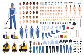 Janitor Creation Set Or Constructor Kit. Bundle Of Cleaners Body Parts, Gestures, Uniform, Equipment poster