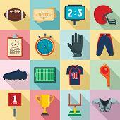 American Football Equipment Icons Set. Flat Set Of American Football Equipment Vector Icons For Web  poster