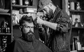 Hipster Lifestyle Concept. Barber With Clipper Trimming Hair On Temple Of Client. Hipster Client Get poster