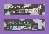 Home Appliances Sale Banners Flat Illustration Vector. Modern Technology House Machine Equipment. Do poster