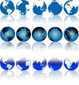 picture of eastern hemisphere  - Collection of Blue Earth Globes with Shiny Reflections - JPG