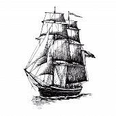 Ship Sailing Yacht Boat Antique Vintage Antique Black Ink Hand Drawing poster