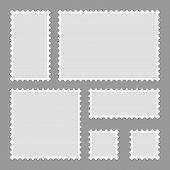 Blank Postage Stamps Set Isolated On Gray Background. Mark Mail Letter Stamps Design. Postal Frame S poster