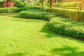 Landscape Design, Peaceful Garden, Green Garden And Lawn., Green Lawn, The Front Lawn For Background poster