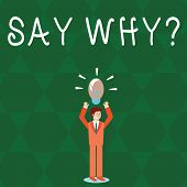 Text Sign Showing Say Whyquestion. Conceptual Photo Give An Explanation Express Reasons Asking A Que poster
