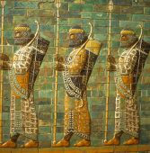 picture of babylon  - Babylonian archers Assyrian mosaic tiles museum in Berlin Germany - JPG