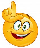 stock photo of obscene  - Emoticon making the loser sign - JPG