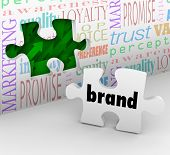 A puzzle piece with the word Brand is your final answer completing your marketing strategy to build awareness and customer loyalty poster