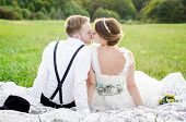 foto of bridal veil  - Bride and Groom on wedding day - JPG