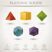 foto of octahedron  - Colorful set of geometric shapes - JPG