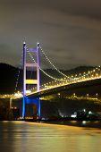 stock photo of tsing ma bridge  - night scene of Tsing Ma bridge - JPG