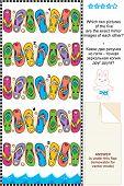 Постер, плакат: Визуальные головоломки шлепанцы зеркало изображений