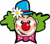 stock photo of clown face  - clown with flower - JPG