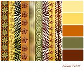 African style earth tone patterns with complimentary colour swatches. EPS10 vector format.