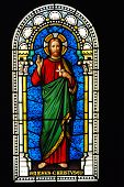 stock photo of stained glass  - god church jesus stained glass window frame - JPG