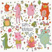 Happy birthday. Funny cartoon vector set with bear, frog, horse, pig, bid, crocodile and elephant