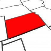 A red abstract state map of Kansas a 3D render symbolizing targeting the state to find its outlines