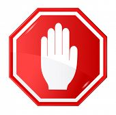 stock photo of octagon shape  - Vector illustration of stop signal sign - JPG