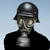 picture of gas mask  - a surreal portrait painting of a person wearing a German world war 2 gas mask and helmet - JPG