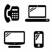 Communication icons set: telephone, internet, television and mobile phone
