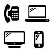 Постер, плакат: Набор иконок связи: Телефон Интернет телевидение и мобильный телефон