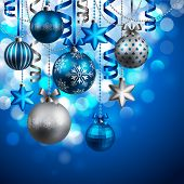 image of blue-bell  - Christmas background with blue and silver baubles - JPG