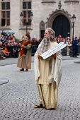 BRUGES, BELGIUM - MAY 17: Annual Procession of Holy Blood on Ascension Day. Locals perform  dramatiz