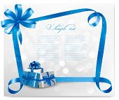Holiday background with blue gift bow and gift boxes. Vector.