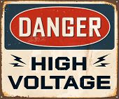 Vintage Metal Sign - Danger High Voltage - JPG version