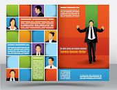 Business themed brochure design template with portraits of businessman and space for different sized
