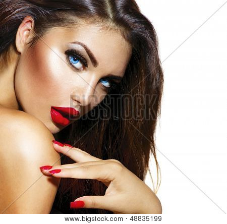 Sexy Beauty Girl with Red Lips and Nails. Provocative Make up. Luxury ...