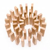stock photo of jenga  - Spiral of blocks risky situation conceptual image - JPG
