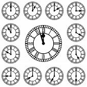stock photo of roman numerals  - Roman numeral clocks showing every hour - JPG