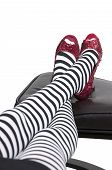 stock photo of ruby red slippers  - High heel stileto ruby shoes or slippers - JPG