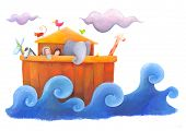 pic of noah  - Noah and his wife on the wooden ark surrounded by animals - JPG