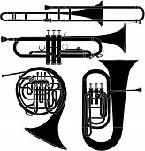 stock photo of trumpet  - Brass musical instruments in vector silhouette including french horn tuba trombone and trumpet - JPG