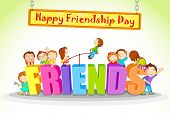 stock photo of friendship day  - vector illustration of kids celebrating Friendship Day - JPG
