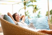 foto of cheer-up  - Sofa Woman relaxing enjoying luxury lifestyle outdoor day dreaming and thinking looking happy up smiling cheerful - JPG