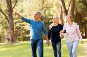 stock photo of elderly  - cheerful middle aged couple taking elderly mother for a walk in forest - JPG