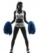 pic of cheerleader  - one young woman cheerleader cheerleading  silhouette studio on white background - JPG