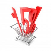 Fifteen percent symbol in shopping cart
